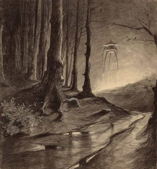 """Henrique Alvim Corrêa (1876 - 1910) Illustration for a 1906 edition of H.G. Wells's 1898 """"The War of the Worlds"""""""