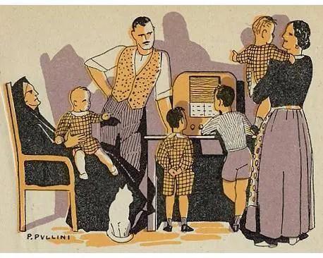 Illustration by Pio Pullini, 1941 from the book Letture per la iIII classe dei centri rurali L'aratro e la spada