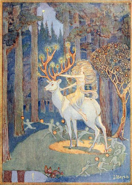 """Erl-king illustration by Jessie Bayes (1878 - 1970) """"The Erl Kings Daughter sending faery servants to their several tasks"""". Again the daughter is beautiful. (So is the white stag.)"""