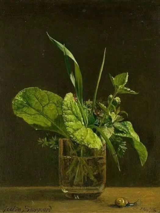 Joakim Frederik Skovgaard (Danish, 1856 - 1933) Still life of a water glass and fresh herbs