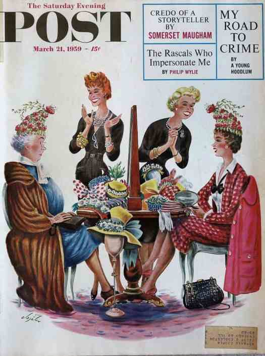 Same Hat, Two Different Women by Constantin Alajalov (1900-1987) The Saturday Evening Post cover March 21, 1959