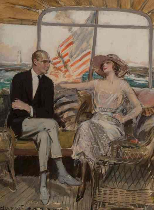 The Cruise by Clarence F. Underwood (1871-1929) Gouache The Saturday Evening Post interior illustration