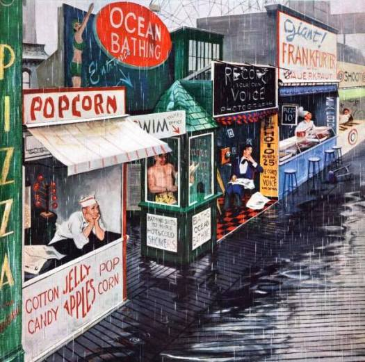 1955, Rain on the Boardwalk (George Hughes cover art for the July 2, 1955, Saturday Evening Post)