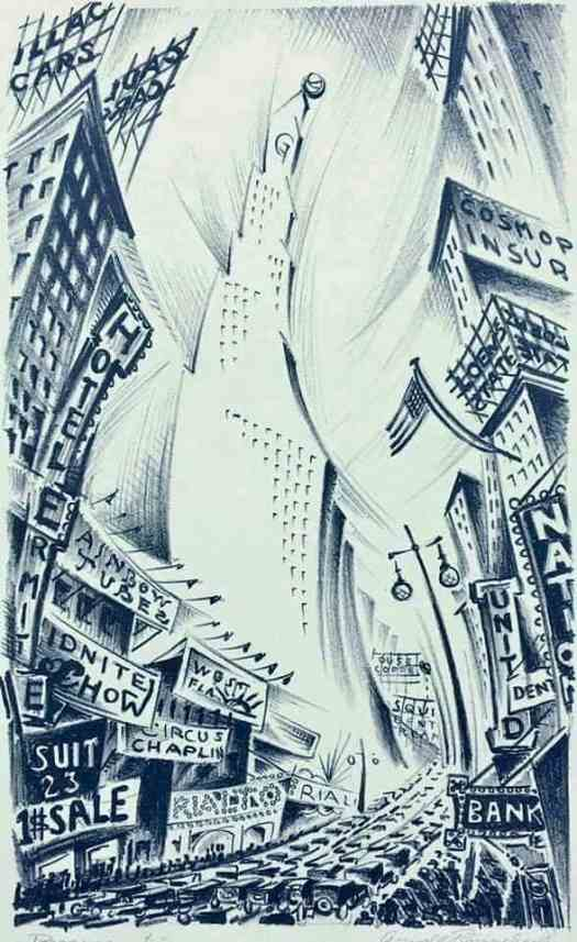 Arnold Ronnebeck, 1928. An excellent graphic depiction of city-inspired vertigo. How to achieve this in writing?