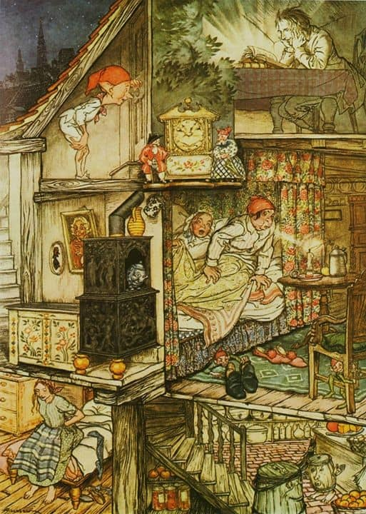 """Arthur Rackham ~ Fairy Tales by Hans Andersen,1932 """"When night was come and the shop shut up."""""""