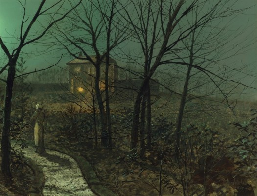 Atkinson Grimshaw - Woman on a Path by a Cottage