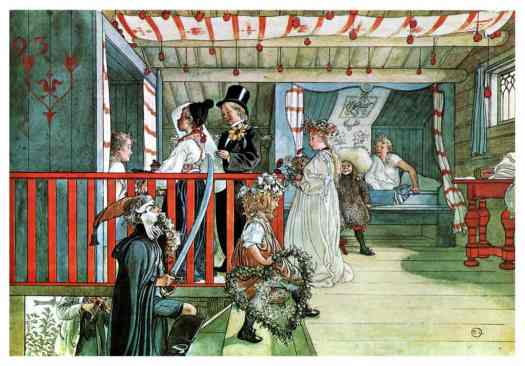 This watercolour illustration of a fancy dress party is by Carl Larsson.
