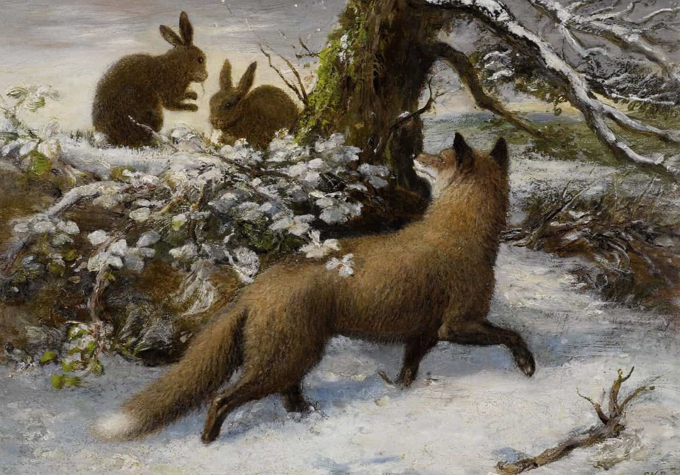 Ebenezer Newman Downard - Winter Landscape with Fox and Hares