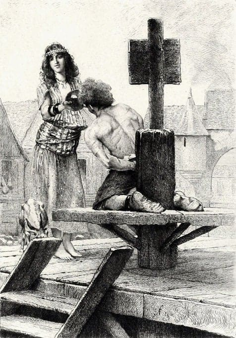 Esmeralda quenching Quasimodo's thirst. Illustration by Francois Flameng, engraving by A.Mongin. Illustration for the Paris edition of 1885