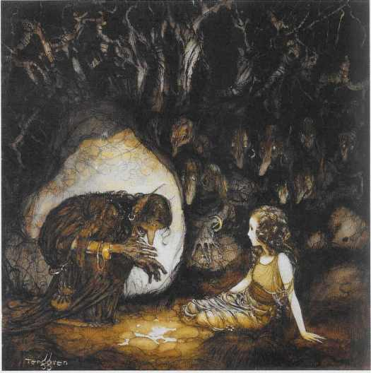 Gustaf Tenggren cave, with influence of John Bauer, 1925