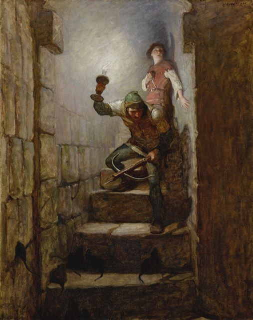 """N.C. Wyeth (American,1882-1945) - """"We must be in the dungeons"""" Dick remarked, 1916. From the book The Black Arrow by R.L. Stevenson"""