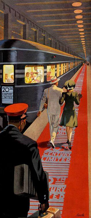 Ray Prohaska, (1901 - 1981) - 20th Century Limited, New York To Chicago Overnight - New York Central System (1941) underground train