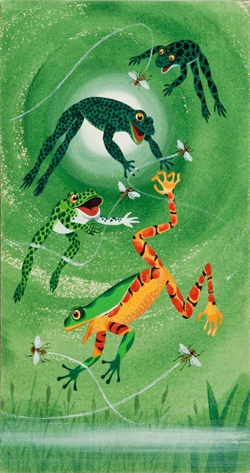 "Richard Scarry (1919-1994) Illustration for ""The rooster struts"" 1963 frogs"