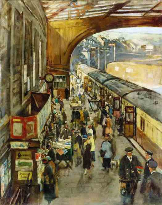 Stanhope Forbes (1857 - 1947) The terminus Penzance station