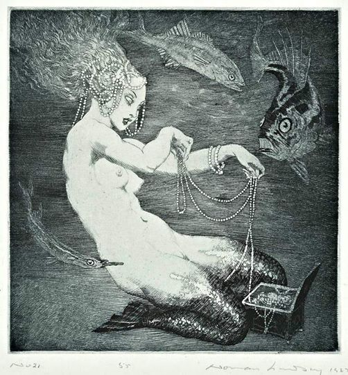 Treasure, 1925 (Norman Lindsay, 1879-1969) mermaid treasure