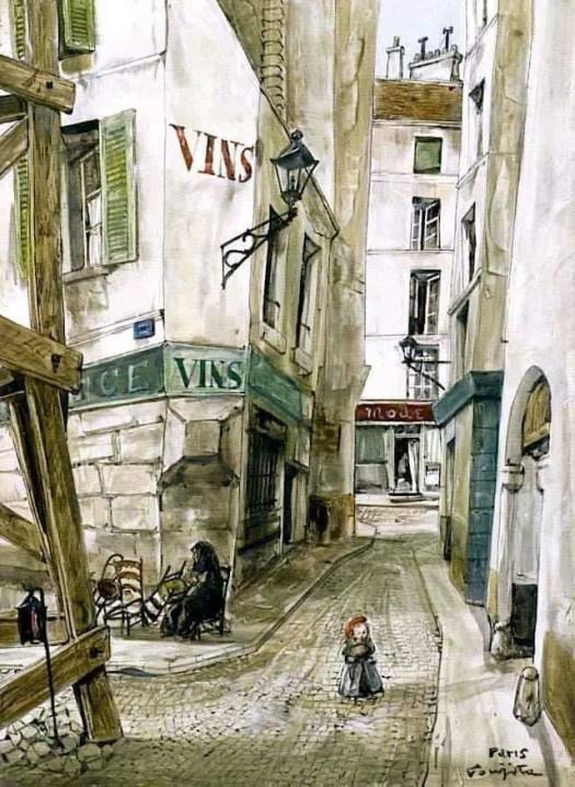 Tsuguharu Foujita (1886 - 1968) Paris street 1950