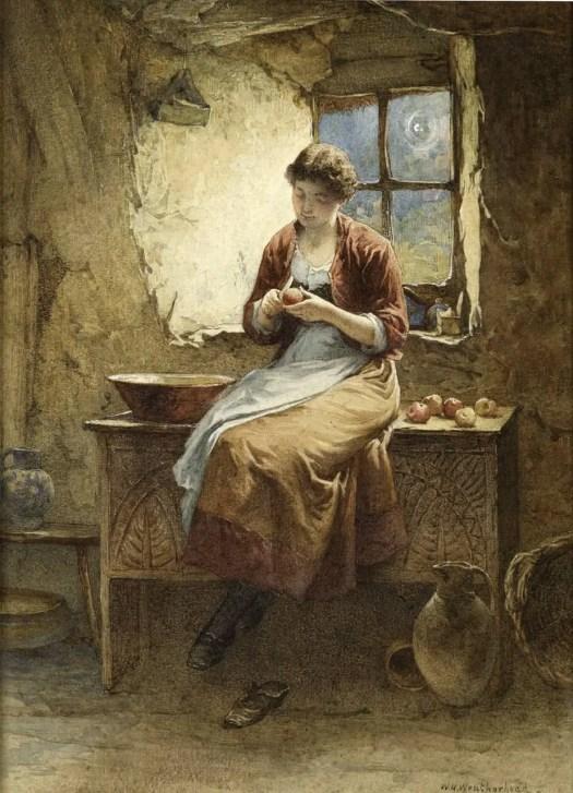 William Harris Weatherhead - Peeling Apples for a Pie 1886