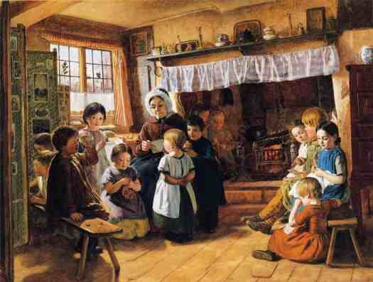 Alfred Rankley - The Village School. The fireplace is so large that two children are sitting inside it, as if it's a separate room.