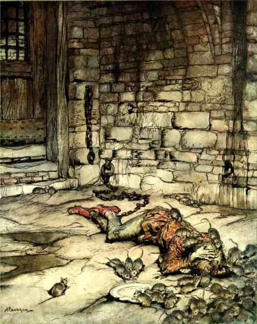 Arthur Rackham An illustration of the ballad Young Bekie showing him in prison, with rats eating his yellow hair. He is in prison for being in love with the king's only daughter, Burd Isbel. From the book Some British Ballads.