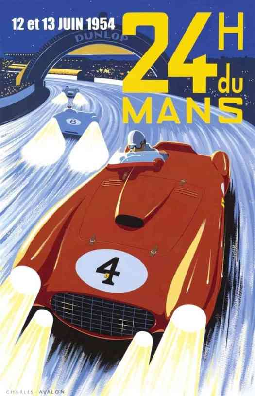 Le Mans 1954 poster by Charles Avalon motion