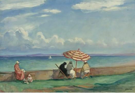 Le parasol a la terrasse de Morgat, Henri Lebasque, 1924