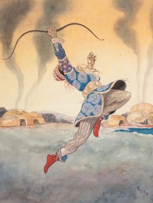 RENE BULL (1845 - 1942) Leaping Warrior based on Ballets Russes, Polovtsian Dances by Michel Fokine