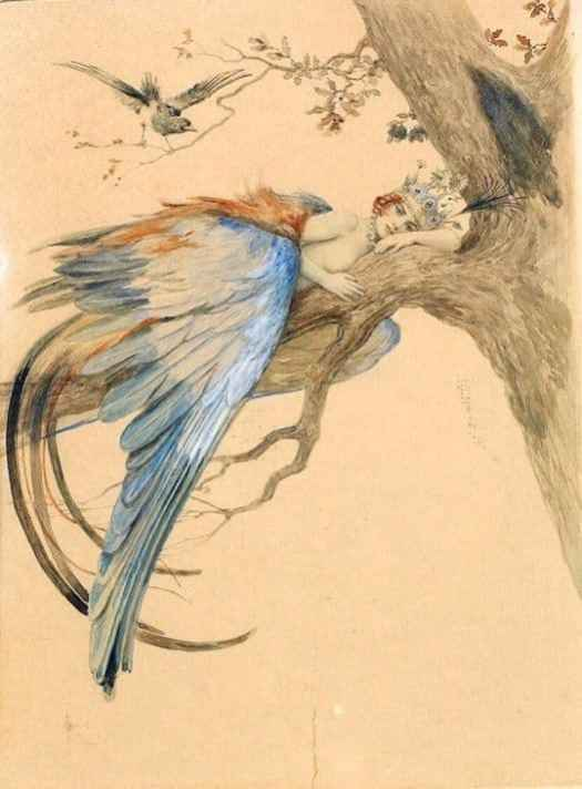 Vintage Russian Postcard, Blue Bird (Bird Sirin) Illustrated by Sergey Solomko (1867-1928) women and birds