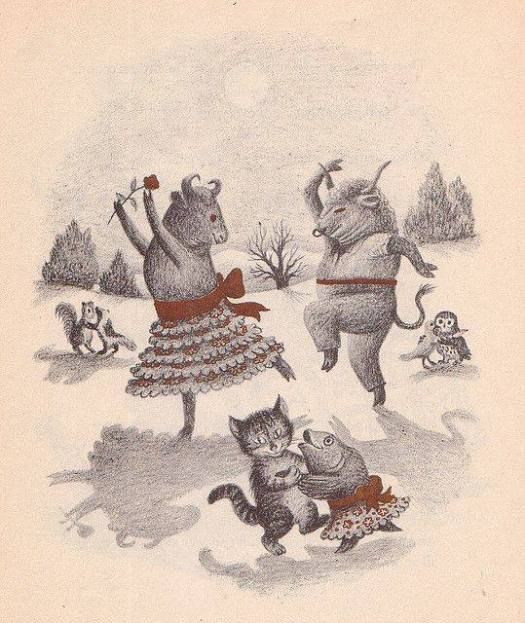 Wait Till the Moon is Full, Illustrations by Garth Williams, 1948- Frolicking Cows