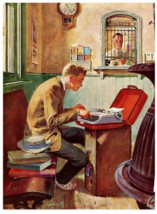 'Waiting for a Train' 1955 by Thornton Utz