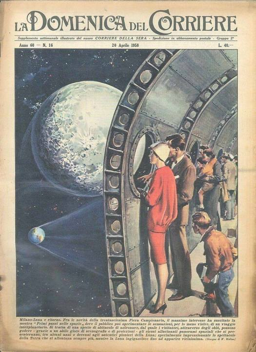 (A virtual trip) From Milan to the Moon and back ... Cover by Walter Molino, 1958 archway