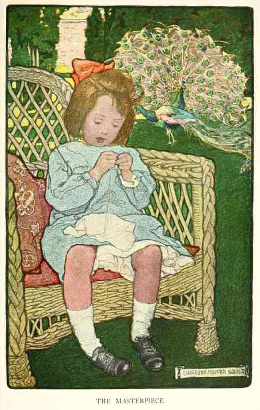 Elizabeth Shippen Green, early 20th Century American illustrator threading needle