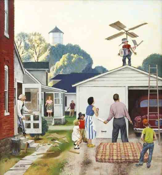Learning to Fly Saturday Evening Post cover 1953, by John Falter