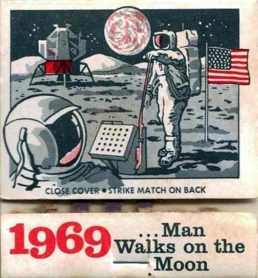 Man Walks on the Moon matchbook cover 1969, illustrator not credited