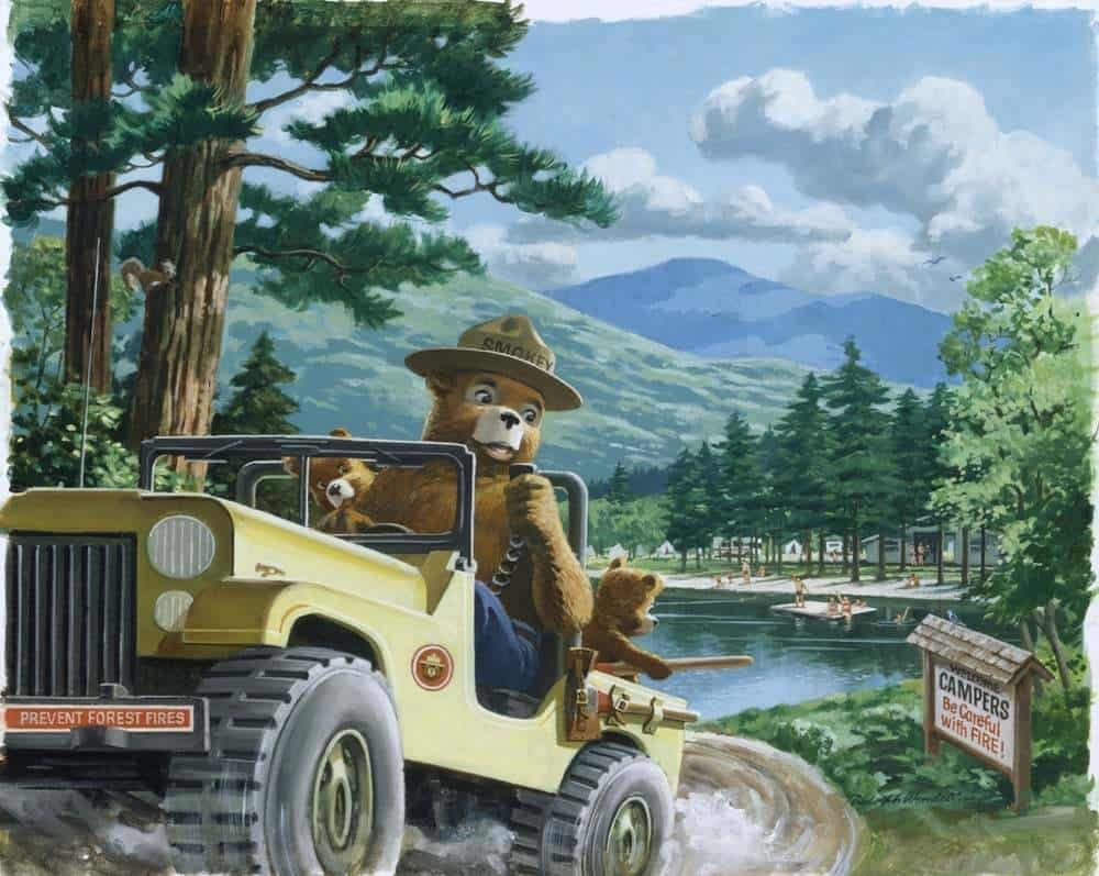 Rudy Wendelin (1910-2000) Smokey Bear campers