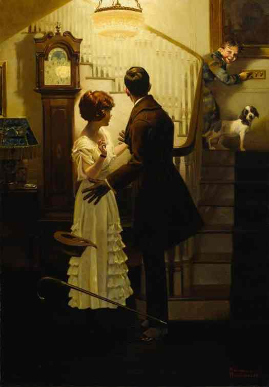 What a difference light makes! (Young couple surprised by little brother) (1920) by Norman Rockwell