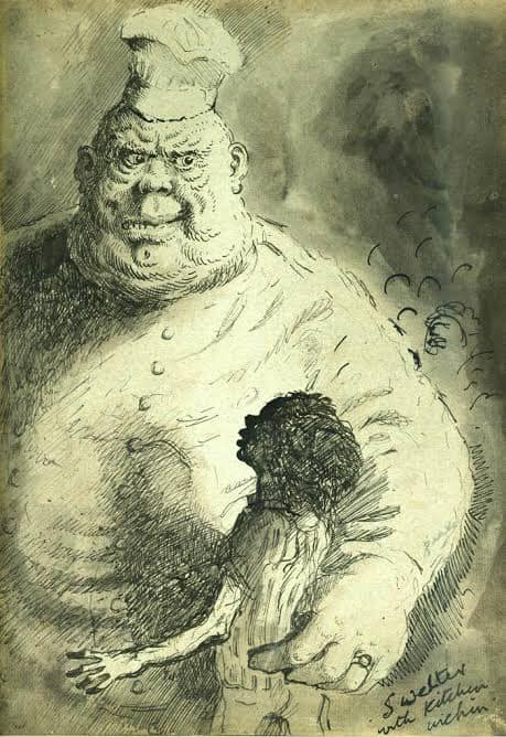 "'Swelter with Kitchen Urchin' illustrated by Mervyn Peake for the first book of his Gormenghast trilogy ""Titus Groan"" (1946)"