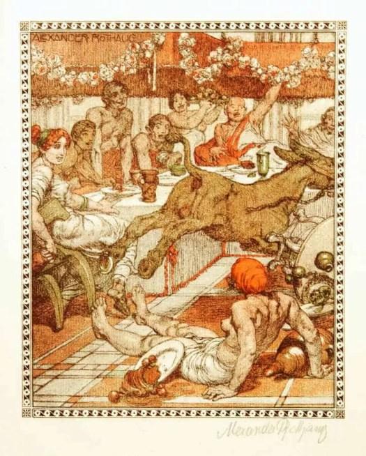 Apuleius Lucianus, Asinus, Vienna, 1918. In 1918, Artur Wolf Verlag, from Vienna Der Goldene Esel donkey mayhem