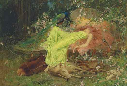 Arthur Wardle - A Fairytale, All seemed to sleep, the timid hare on form, Walter Scott 1895