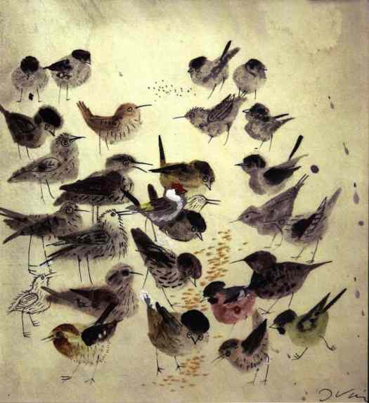 Birds, illustration by Józef Wilkon