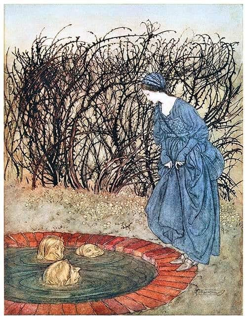 By Arthur Rackham (1867-1939) 'The Three Heads of the Well,' They Thanked Her f. English fairy tales, Flora Annie Webster Steel 1922