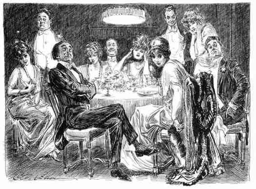 CHARLES DANA GIBSON New Cartoons  dinner portrait