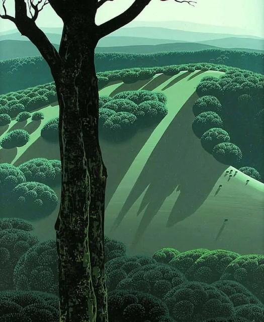 Eyvind Earle (1916 - 2000) Green Hillside 1970