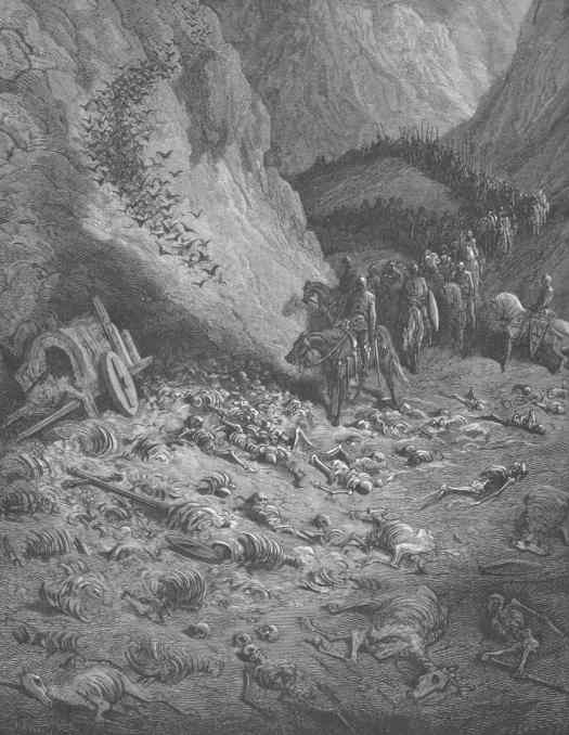Gustave Doré (1832 - 1883) 1877 illustration 'The Army Of The Second Crusade Find The Remains Of The Soldiers Of The First Crusade' valley death
