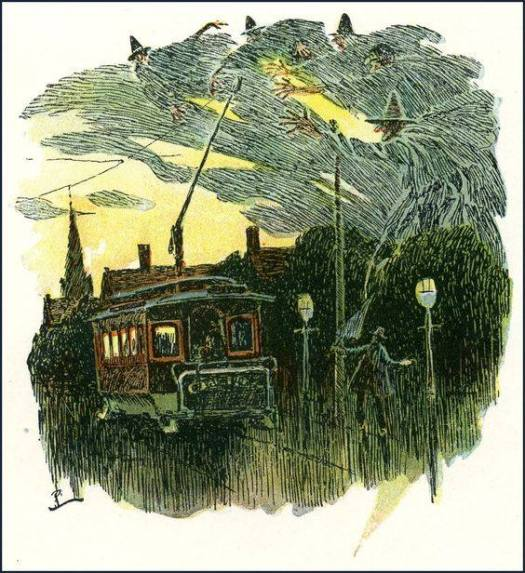 Illustration for The Broomstick Train or The Return of the Witches by Oliver Wendell Holmes, Color Edition published by Houghton Mifflin 1905 by Howard Pyle