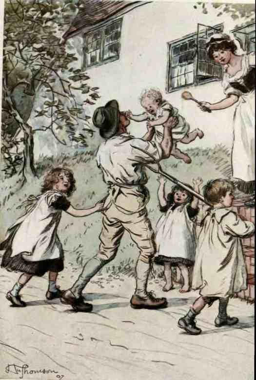 Illustration of 'The Father whose return is greeted by young voices' by Hugh Thomson, 1907 edition of Silas Marner