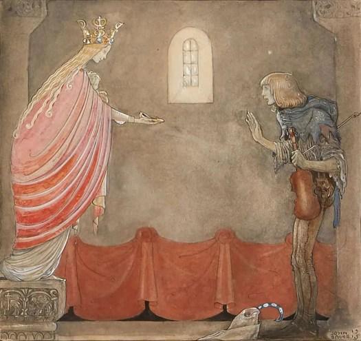 Jeanna Bauck (Swedish painter) 1840 - 1926, Madonnan Ger Spelmannen Sin ena Sko, 1915 for 'Spelmannen som fick Madonnans guldsko' by Emil Linders in 'Bland tomtar och troll' (Among Gnomes and Trolls)