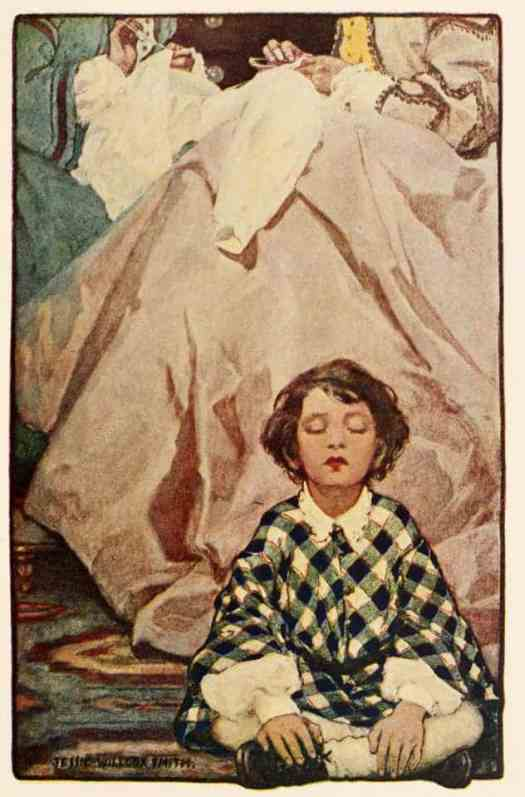 Jessie Wilcox Smith child sitting on floor while adults sit on chair