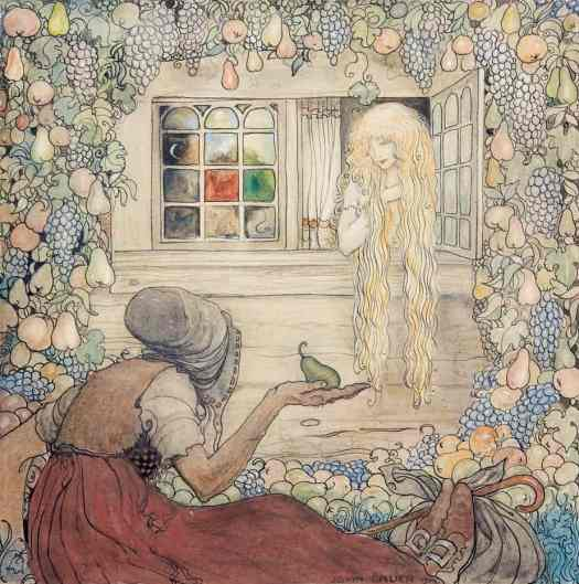 John Bauer (Swedish painter and illustrator) 1882 - 1918, 'Thank you for the lovely pear', she said. Illustration to Anna Wahlenberg's 'Trollkarlens kappa' (The Magician's Coat) from Among Tomtar and Trolls, 1912