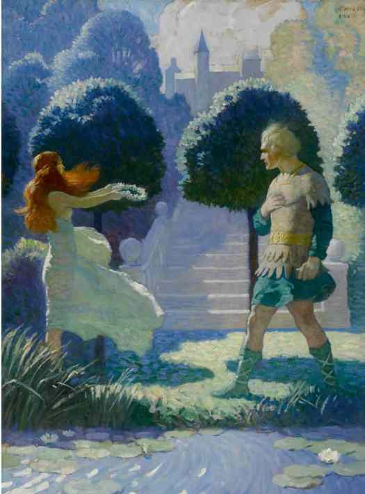 N.C. Wyeth (American,1882-1945) - Ogier and Morgana (Ogier dismounted and took some steps along the stream, but was soon stopped by meeting a young beauty, such as they paint the graces.)