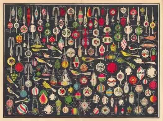 Page from a 1936 trade catalog, Erwin Geyer, Lauscha, Germany, illustrating Christmas ornaments